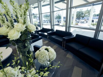 Avala Hospital lobby with furniture and flowers